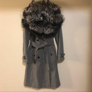 Burberry London cashmere wool fur coat